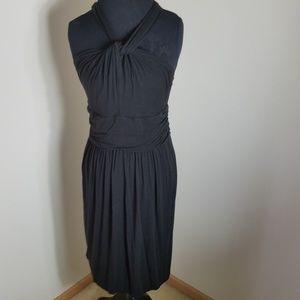 Ann Taylor Loft Black Knotted Halter Dress Large